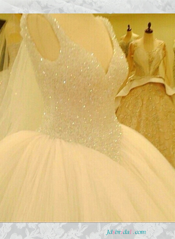 H1656 Sparkly sequined strappy princess wedding gowns 2016 :