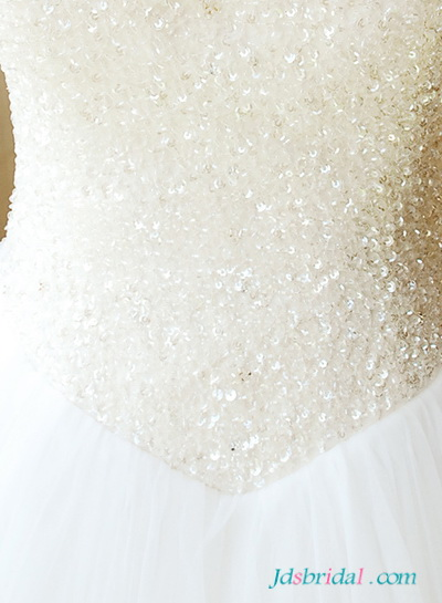 H1656 Romance sparkly sequined strappy princess wedding dress