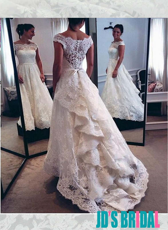 modest illusion lace bateau neckline a line wedding dress with sheer lace back