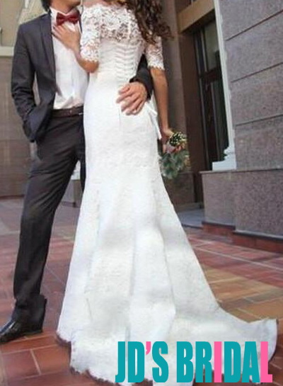H1661 Lace bateau neck mermaid wedding dress with sleeves