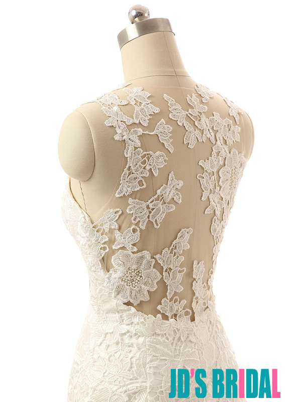 H1665 Sexy lace mermaid wedding dress with sheer back
