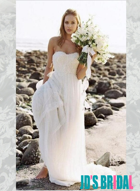 H1666 Sweetheart simple beach white column wedding dresses