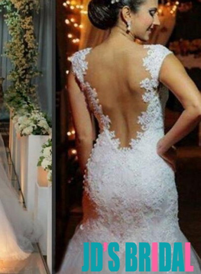 H1669 sexy sheer open back lace mermaid wedding dress 2016