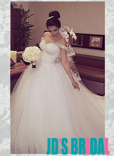 H1672 Sparkly fairytale off the shoulder tulle princess wedding dresses