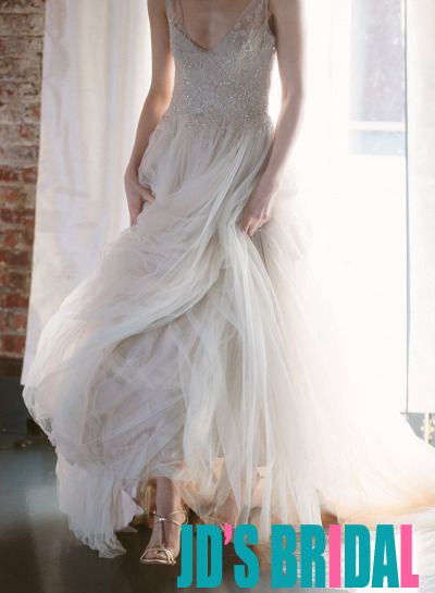 H1675 Romantic flowy tulle strappy aline wedding dress