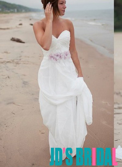 H1676 Simple airy chiffon beach white wedding dresses