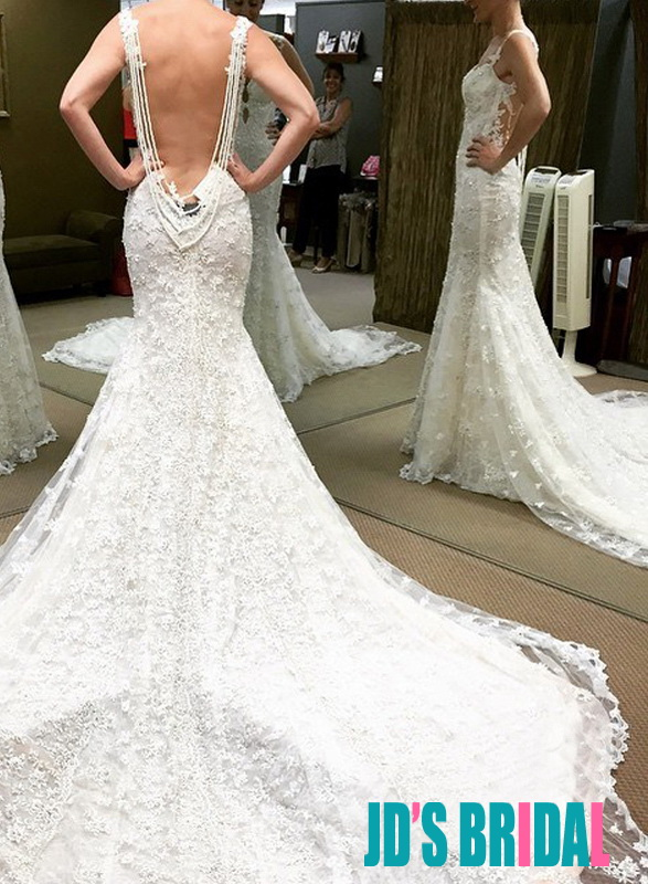 H1677 Gorgeous lace strappy backless mermaid wedding dress