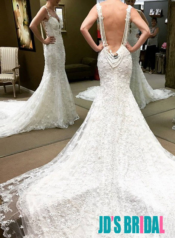 H1677 Gorgeous lace strappy backless mermaid wedding dress :