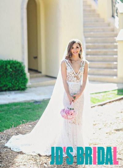 H1678 Y Semi Sheer Lace Stry Sheath Destination Wedding Dress