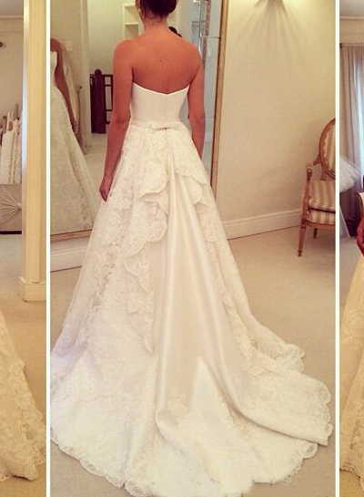 H1679 Simple strapless satin bodice lace aline wedding dress