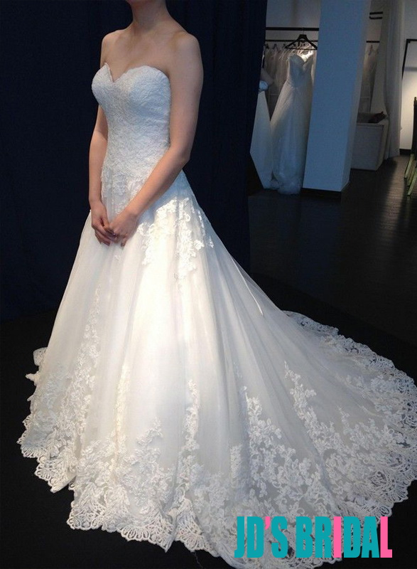 H1685 Elegant Sweetheart Neckline Lace Aline Wedding Dress