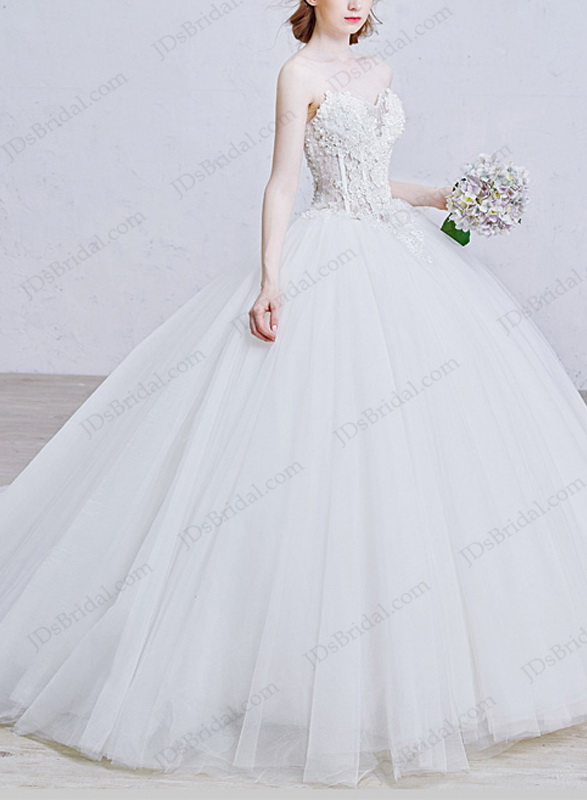 ac303c780901 IS008 Sexy illusion beaded florals bodice full ball gown princess wedding  dress