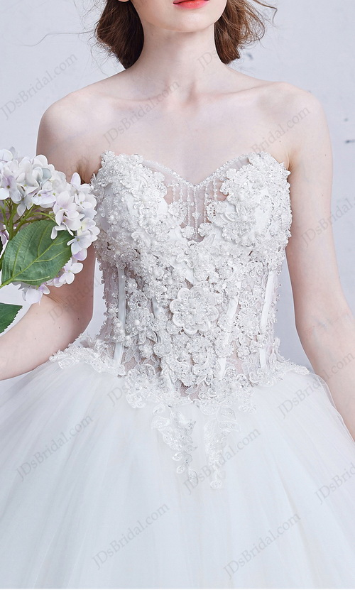 IS008 Sexy illusion beaded florals bodice full ball gown princess wedding dress