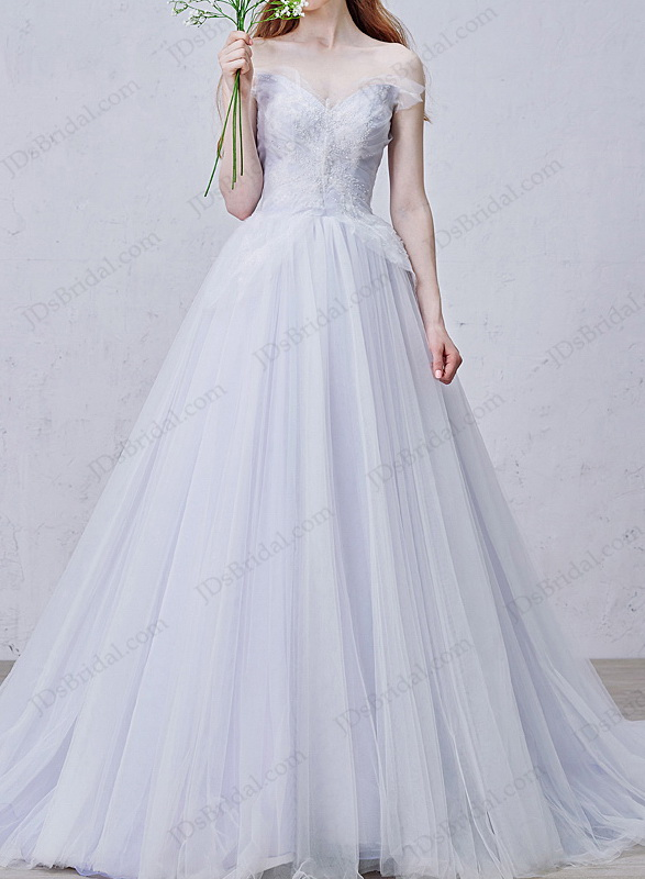 IS009 Fairy purple colored woodland tulle wedding dress inspired