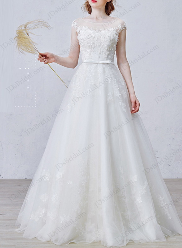 IS010 Fairytale sheer bateau neck cap sleeved tulle with lace wedding dress