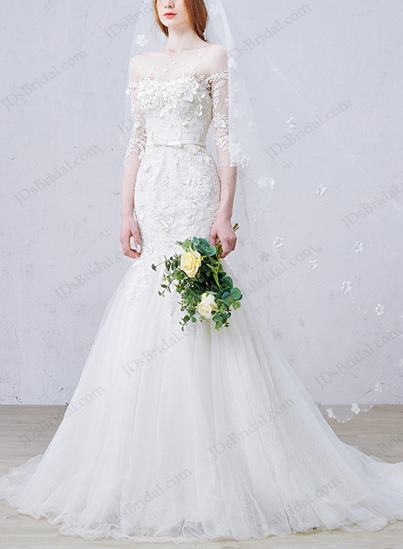 IS011 Stunning illusion half length sleeved lace mermaid wedding dress