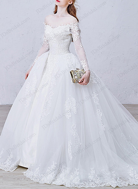 Is012 Stunning Off Shoulder Illusion Long Sleeves Lace Ball Gown Princess Wedding Dress