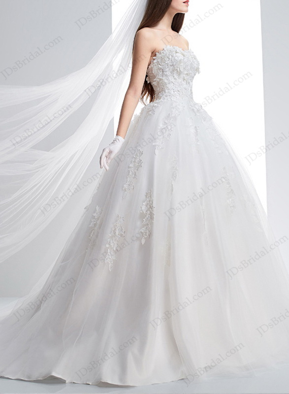 IS013 Princess white sweetheart neckline lace tulle ball gown wedding dress