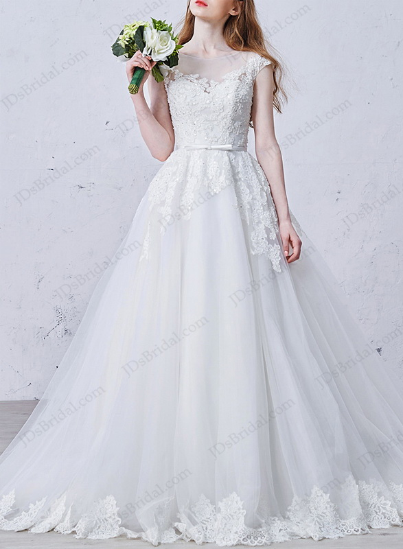 IS014 Classic sheer tulle top cap sleeved ball gown wedding dress