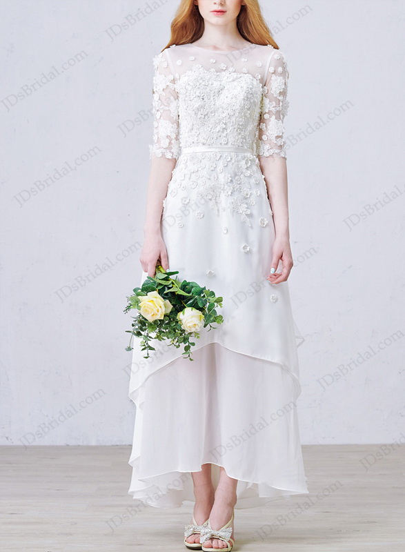IS016 Romance simple keyhole back high low beach chiffon wedding dress