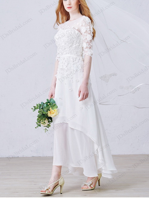 Best romance simple beach chiffon wedding dress with high low hem and 1/2 length sleeves