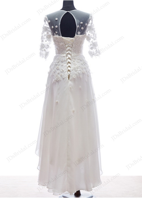 Best romance florals simple beach chiffon wedding dress with high low hem and 1/2 length sleeves