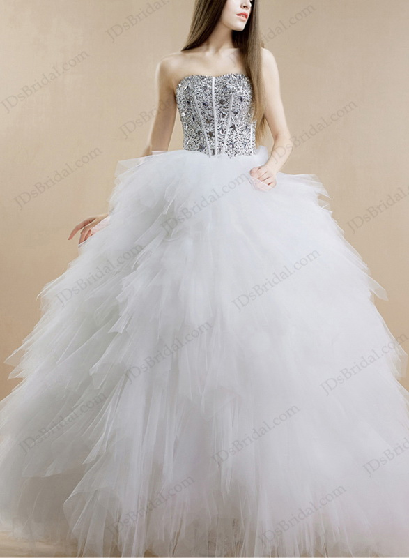 IS017 Sparkles crystals sweetheart neckline ruffles tulle ball gown princess wedding dress