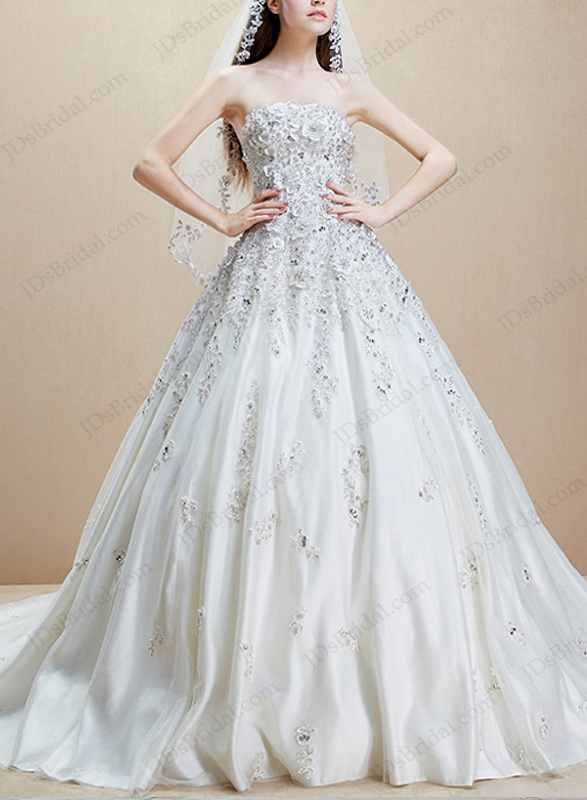 IS018 Luxury beaded lace appliqued cathedral train florals wedding dress
