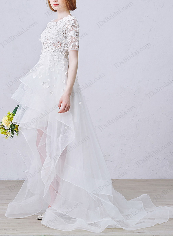 IS019 Romance high low boho beach illusion lace short sleeved wedding dress