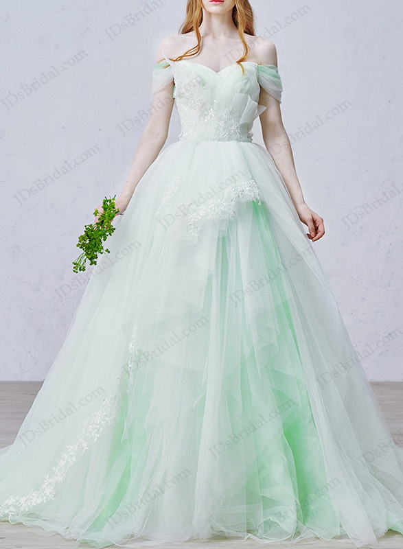 64ce048691a IS020 Fairy mint white off shoulder princess tulle wedding dress