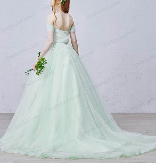 IS020 Fairy mint white off shoulder princess tulle wedding dress