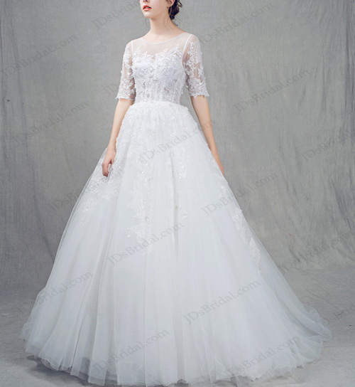 IS021 Sexy sheer lace back half length sleeved tulle princess wedding dress