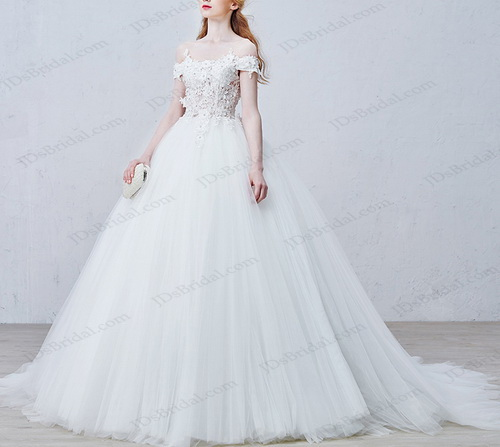 IS023 Sexy illusion lace off shoulder princess tulle ball gown wedding dress