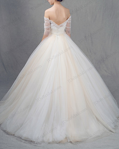 Champagne Ball Gown Wedding Dresses: IS025 White And Champagne Colored Tulle Princess Ball Gown