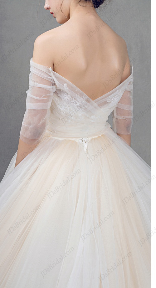 IS025 white and champagne colored tulle princess ball gown wedding dress