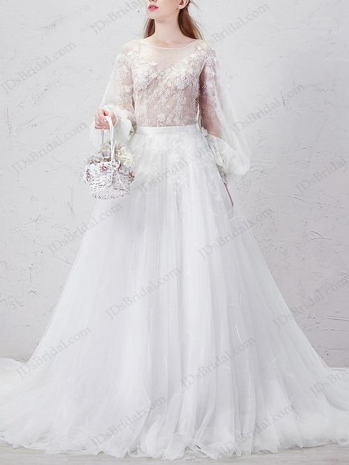 IS026 Sexy woodland long sleeved two pieces tulle wedding dress