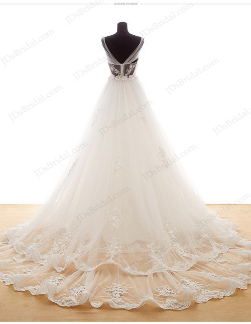 IS027 Fairy off shoulder florals sheer lace back princess tulle ball gown wedding dress