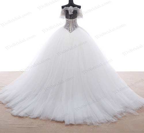 IS028 sexy drops beading chainlet keyhole back puffy tulle princess wedding dress