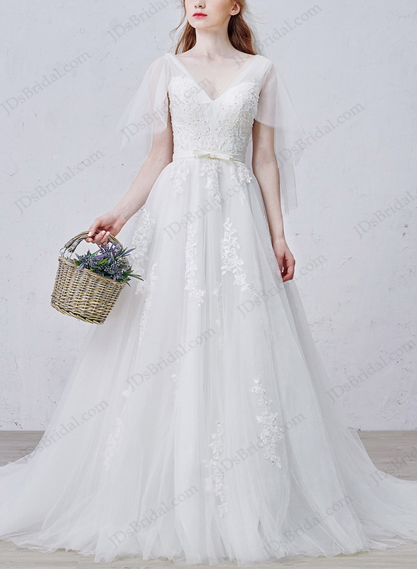 Jdsbridal purchase wholesale price wedding dresses prom for Flowy wedding dress with sleeves