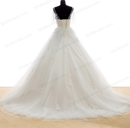 IS029 Romance sheer tulle flappy sleeves v neckline country wedding dress