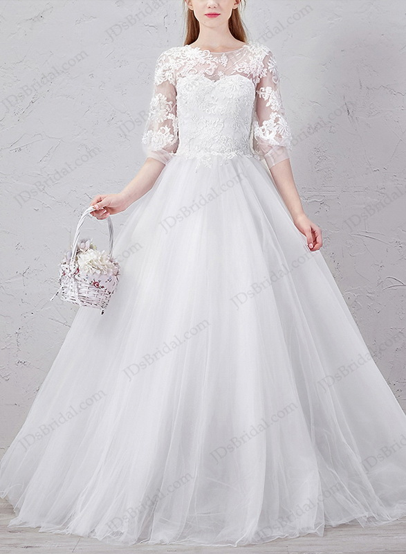 IS030 Cute half length tulle floor length ball gown country wedding dress