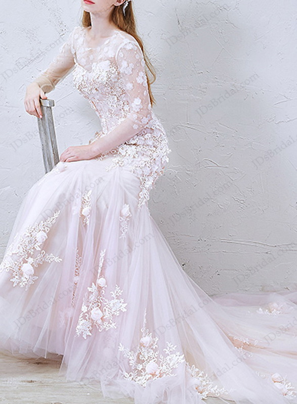 IS032 Romance pink blush florals lace mermaid wedding dress 2016 :