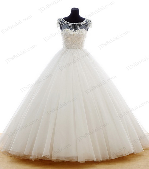 IS035 Beautiful sheer tulle top princess ball gown wedding dress