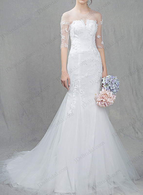 IS036 Romance sheer tulle top half length sleeved mermaid tulle wedding dress