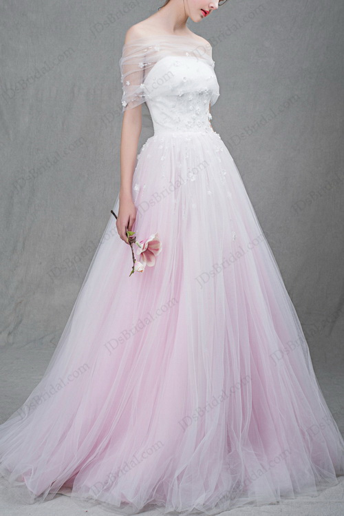 unique blush pink and white tulle princess wedding dress with shoulder tulle wrap veil
