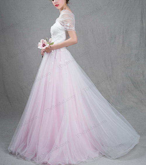 IS037 Beautiful white and blush pink two tones tulle ball gown wedding dress