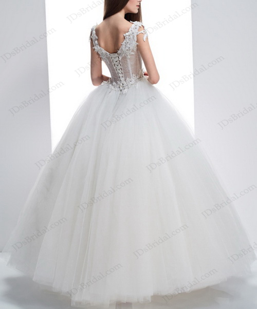 IS038 Sexy illusion lace strappy bodice sheer back tulle princess wedding dress