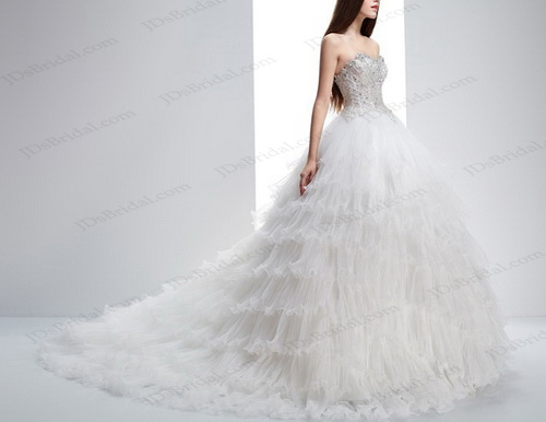 IS039 Sparkles illusion beading bodice tiered tulle ball gown wedding dress
