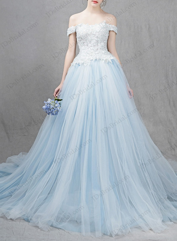 IS041 Ocean light blue colored princess ball gown wedding dress :