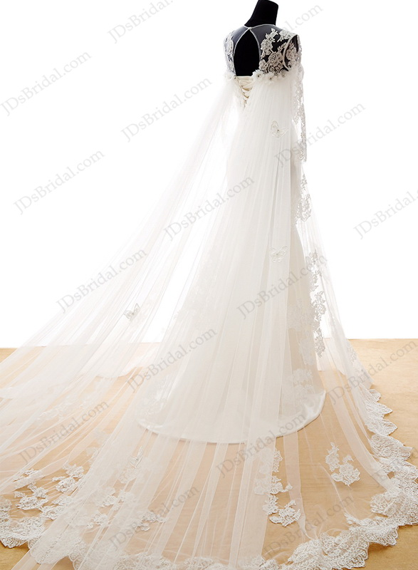 IS042 Beautiful lace mermaid wedding dresses with detachable watteau train
